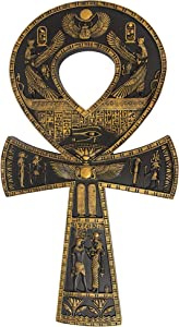 Design Toscano Ancient Ankh Egyptian Decor Wall Sculpture Plaque, 16 Inch, Black and Gold