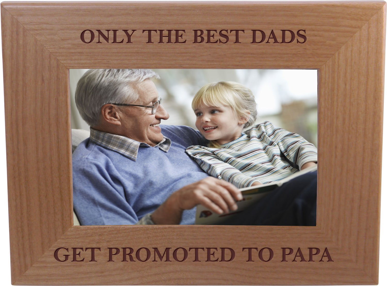 CustomGiftsNow Only The Best Dads Get Promoted To Papa 4-inch x 6-Inch Wood Picture Frame by CustomGiftsNow (Image #1)