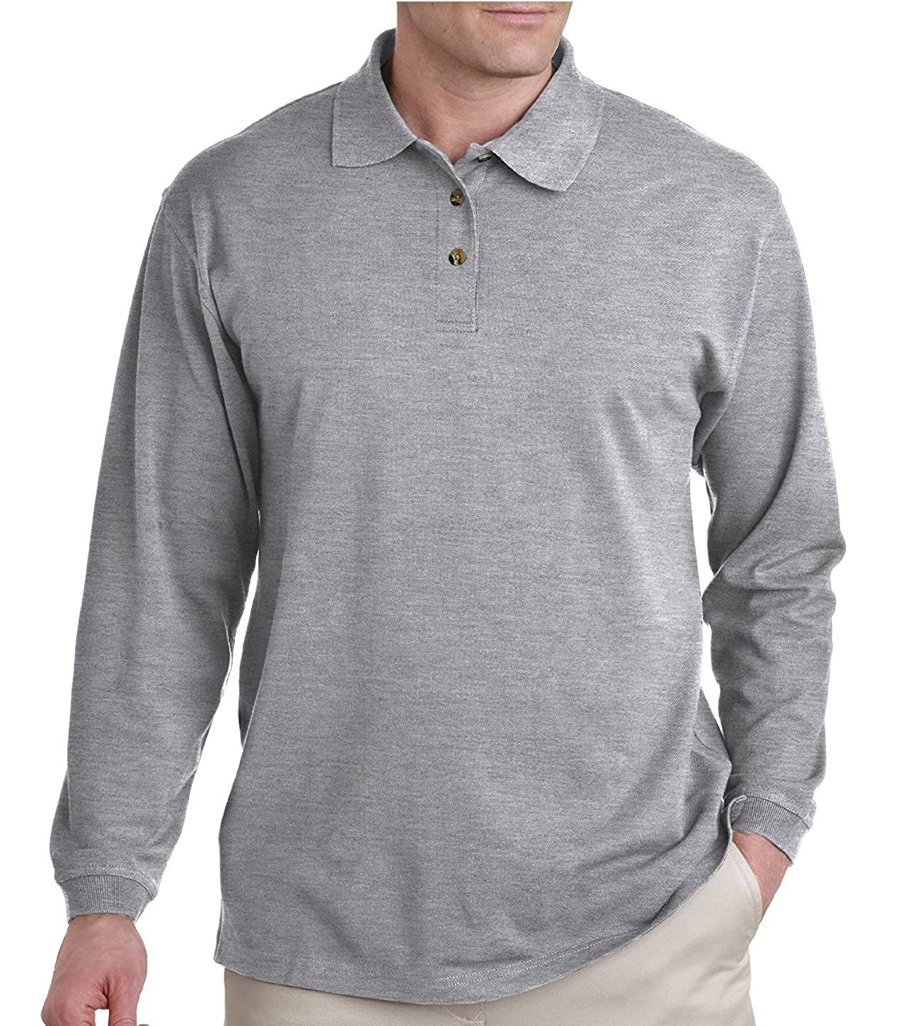 Woqn Mens Polo Shirts Casual Cotton Long Sleeve Solid Polo Shirts Black