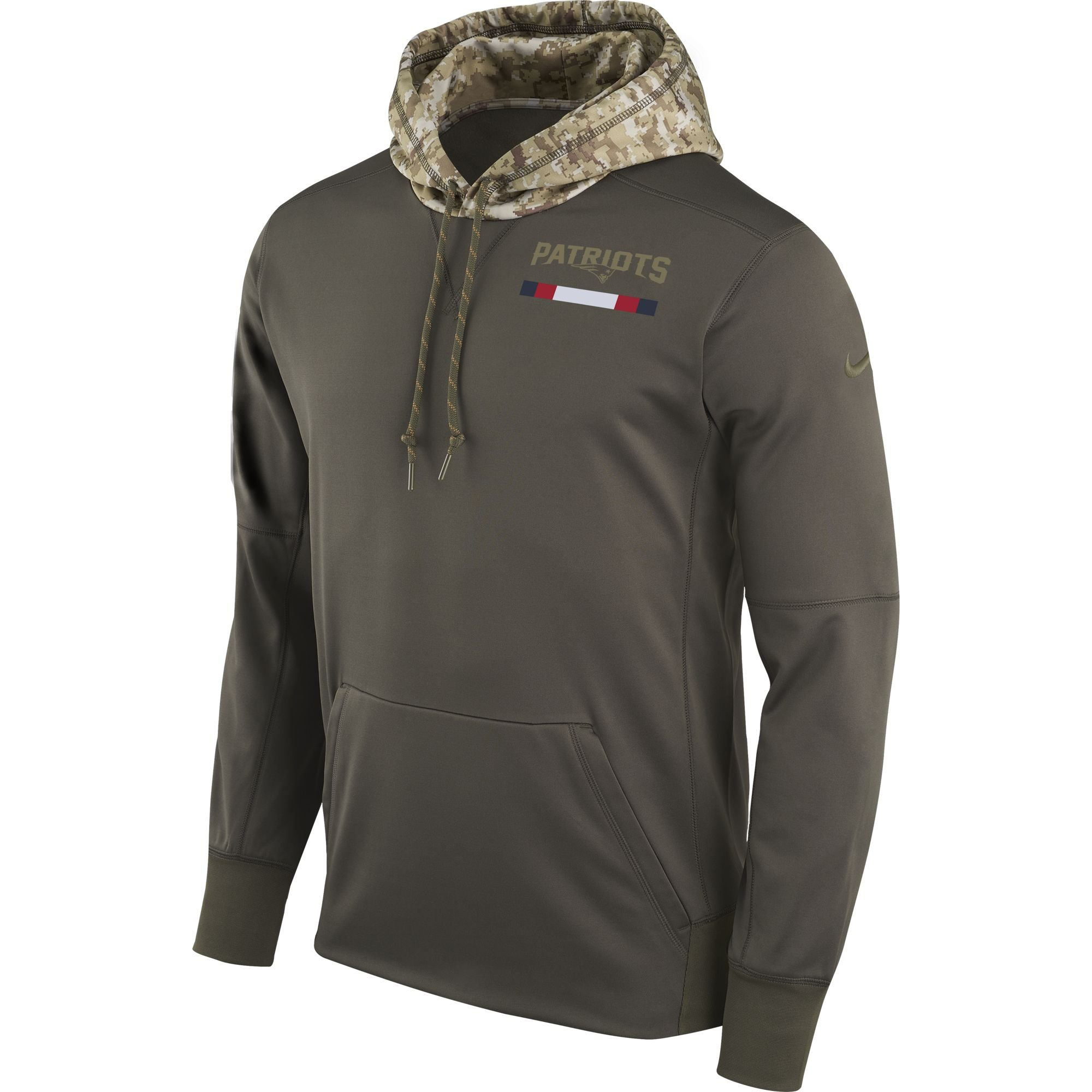 Nike Men's New England Patriots STS Pullover Therma Hoodie Cargo Khaki Size X-Large