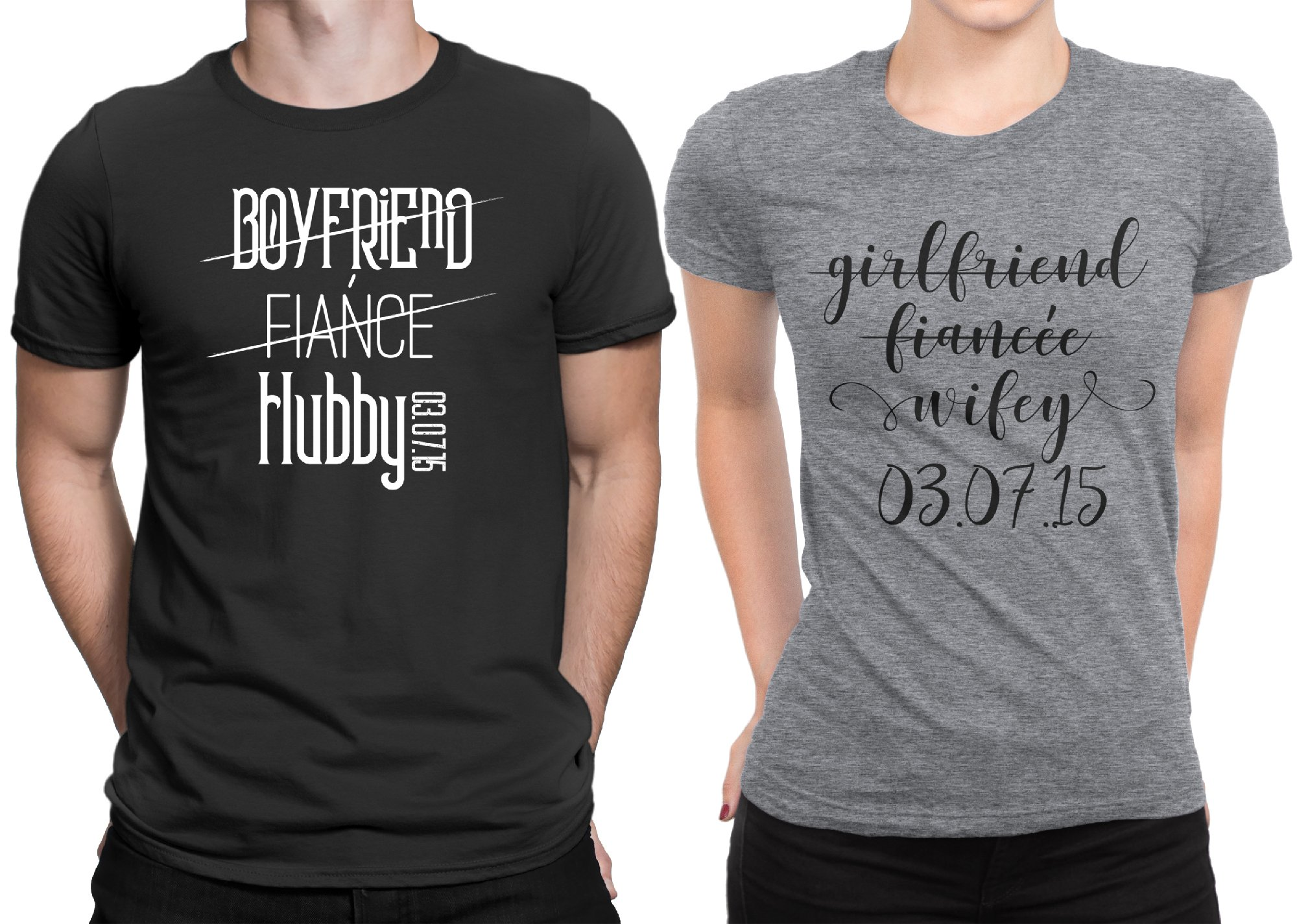 Hubby Wifey Couple Newly Married Couple Matching T-shirt Honeymoon valentines Men X-Large / Women X-Large | Black - Deep Heather
