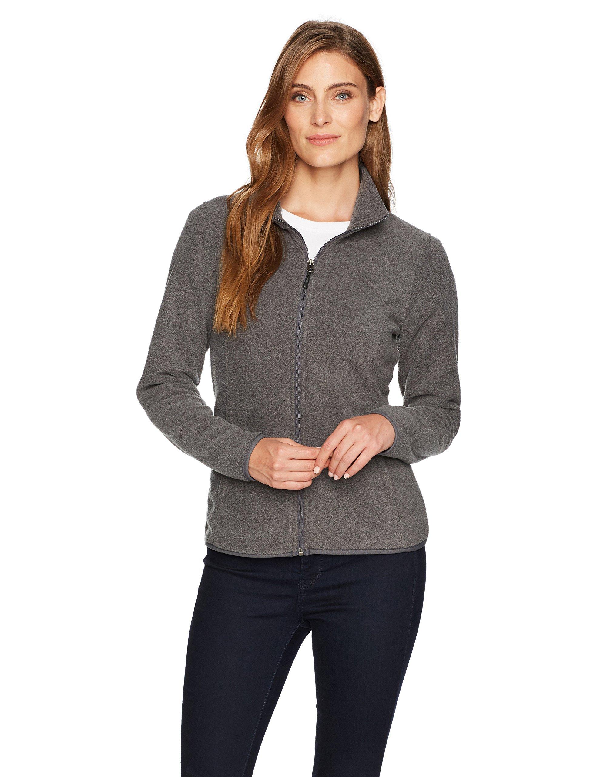 Amazon Essentials Womens Full-Zip Polar Fleece Jacket, Grey Charcoal Heather, Medium
