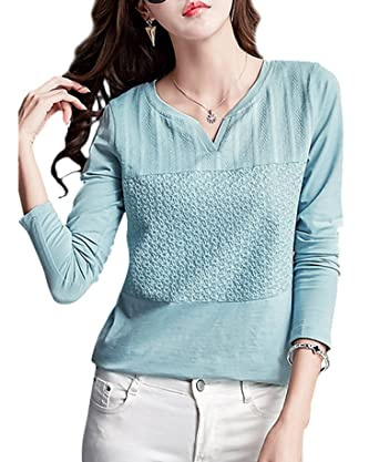 13615a3dc3ef Collocation-Online Womens Long Sleeve Shirt V Neck Blouse Solid Jacquard  Top Tee,Medium