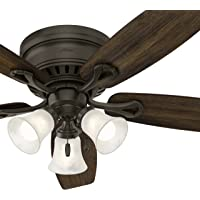 Hunter Fan 52 inch Bronze Traditional Ceiling Fan with Swirled Marble Glass Light Kit and Remote Control (Certified Refurbished)