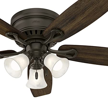 Hunter Fan 52 inch Bronze Traditional Ceiling Fan with Swirled Marble Glass Light Kit and Remote Control Renewed With Remote