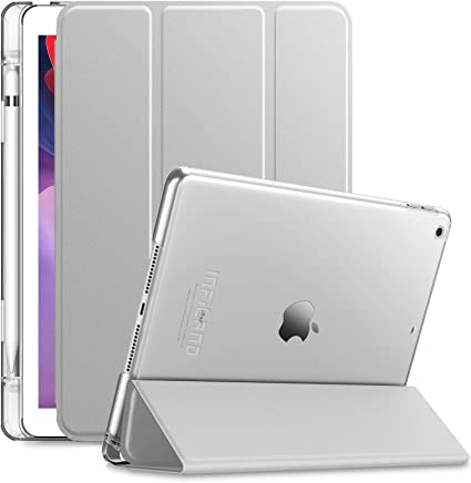 INFILAND Funda para iPad 7, iPad 8 (10,2 Pulgadas, 7ª/8ª Generación, 2019/2020 Modelo), Delgada Translúcido Case Smart Cover con Portalápiz con Auto Reposo/Activación Función, Plateado