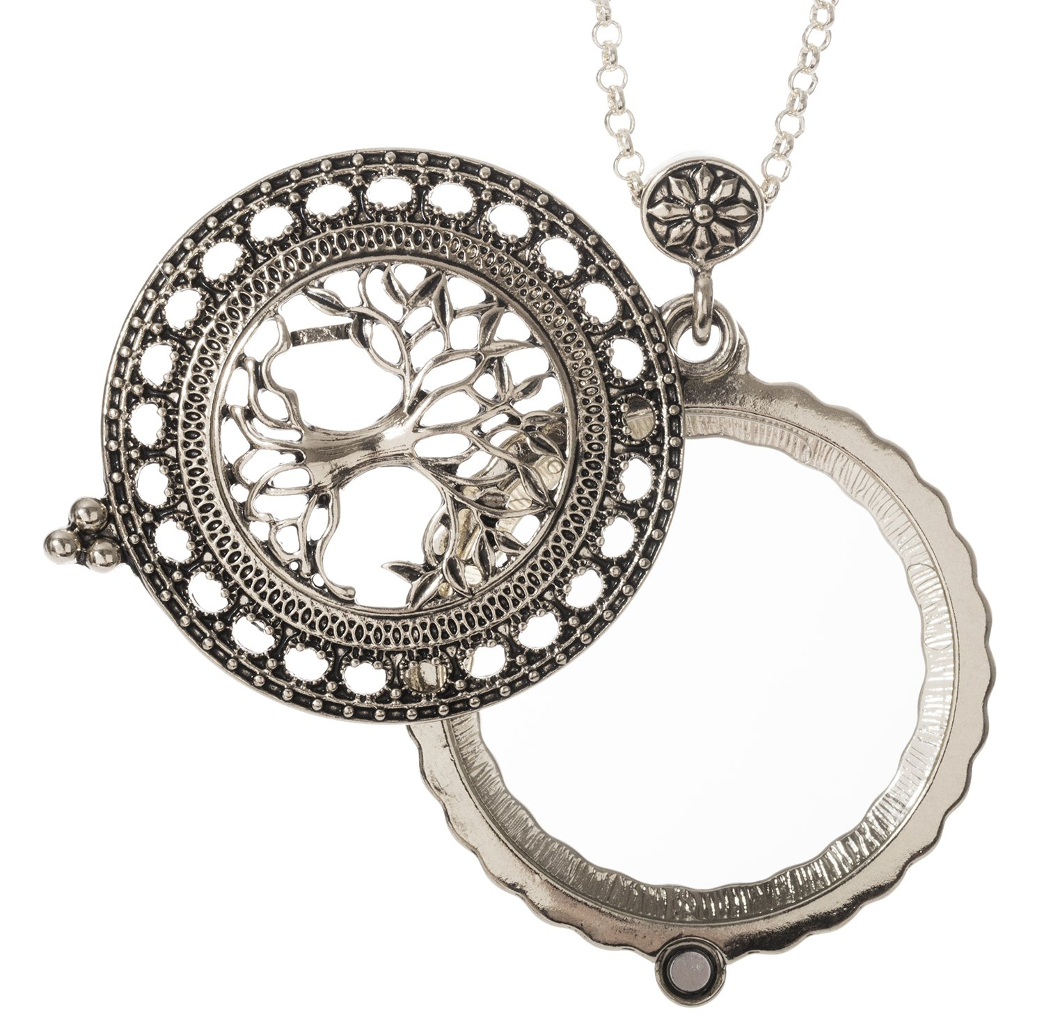 Tree of Life Magnifier Magnifying Glass Sliding Top Magnet Pendant Necklace, 30'' (Silver Tone)