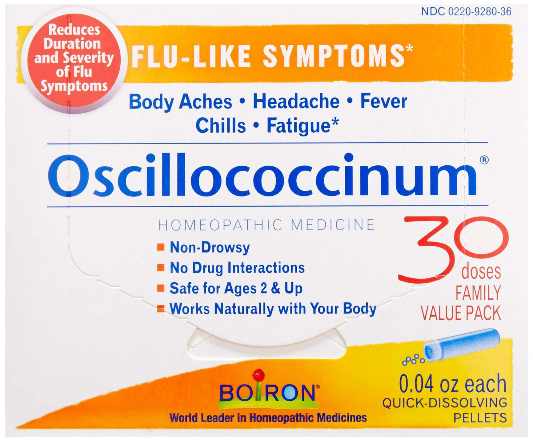 Boiron Oscillococcinum for Flu-like Symptoms Pellets, 30 Count/0.04 Oz each