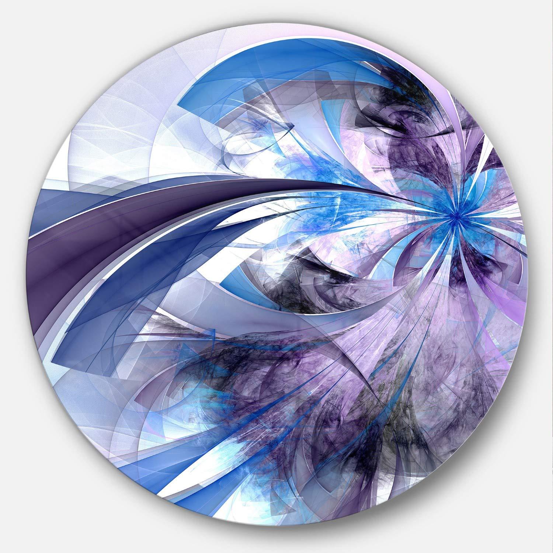 Designart Purple and Blue Symmetrical Fractal Flower Modern Floral Metal Wall Art Disc of 23 23 H x 23 W x 1 D 1P Black