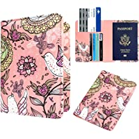 WALNEW Passport Holder Wallet - Premium PU Leather RFID Blocking Passport Case Cover to Securely Hold Passport, Tickets, Bank Card and Cash