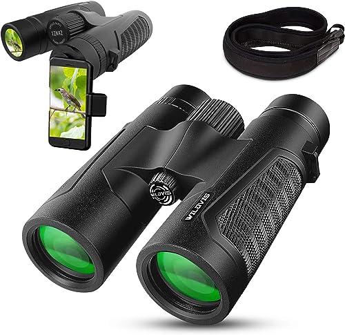 WildVis 12×42 Binoculars for Adults Compact Binocular Prism BAK4 FMC Lens Waterproof HD Binoculars for Bird Watching Hunting with Carrying Bag