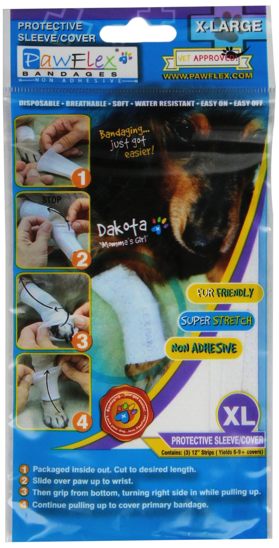Pawflex Bandages Non-Adhesive Disposable Washable and Reusable Protective Cov...