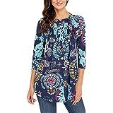 semen Femme T-Shirt Top Haut Longue Manche Imprimé Floral Mi-Longue Blouse  Elégant Confort Casual Vacances… a6b4da83bb46