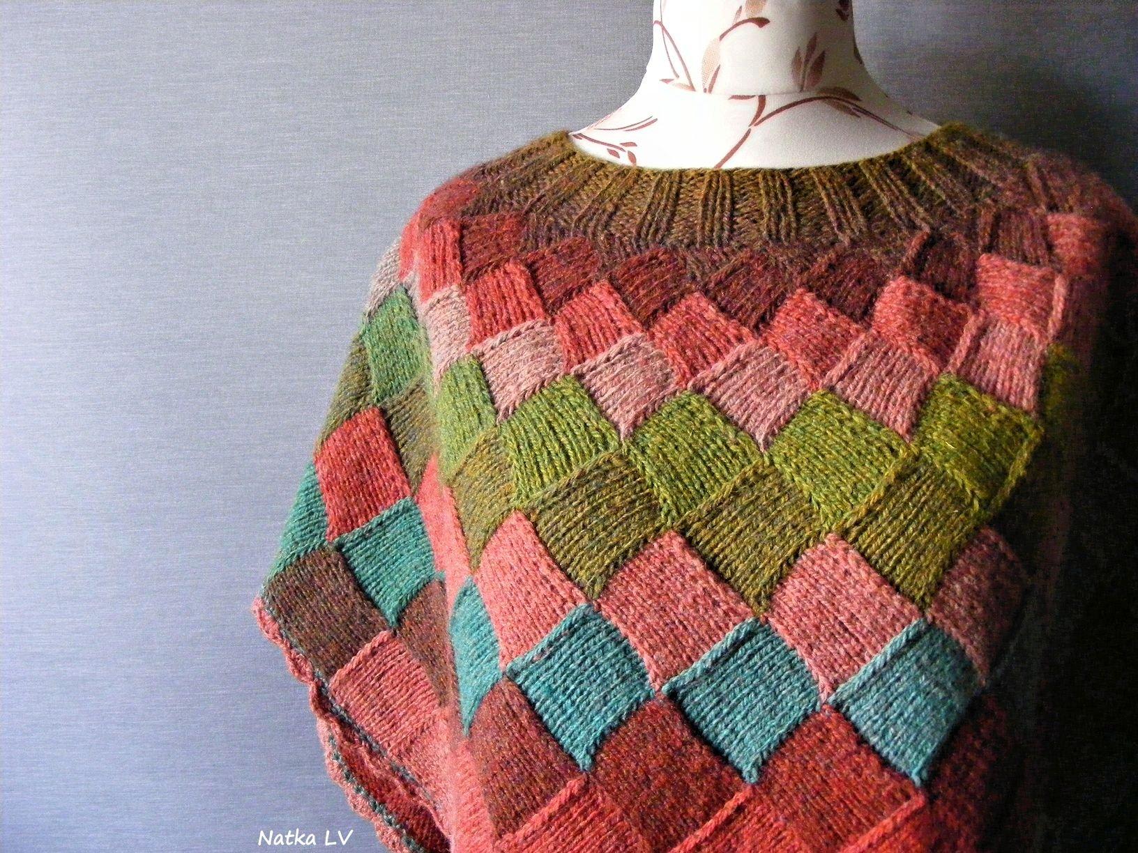 Knit wool poncho, womens knitted poncho, entrelac poncho, natural wool, boho bohemian knitwear, women plus size poncho, wool knit wrap