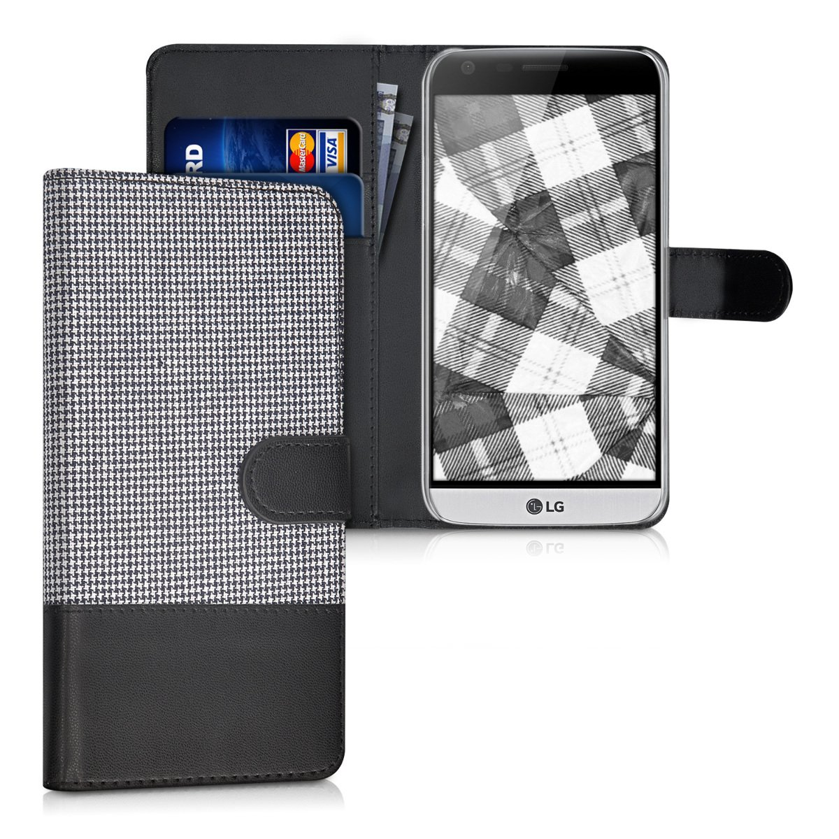 G5 SE Dark Blue//Black kwmobile Wallet Case for LG G5 Fabric and PU Leather Flip Cover with Card Slots and Stand