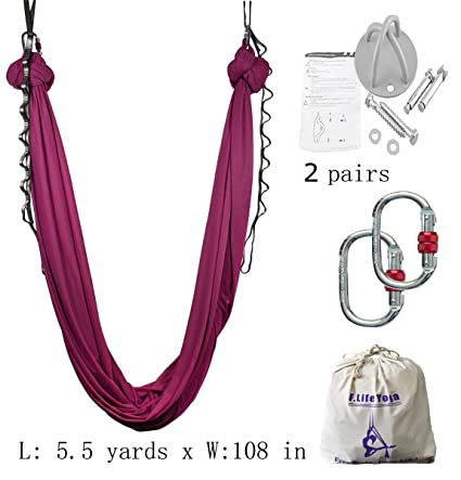 aerial yoga swing flying yoga hammock set 5 5 yards includes hardware daisy chain and guide amazon     aerial yoga swing flying yoga hammock set 5 5 yards      rh   amazon