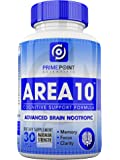 AREA 10 Cognitive Support Advanced Scientific Nootropic Formula for Memory, Clarity and Focus, Neurological Health, and Optimal Brain Boost Function, 30 Capsules