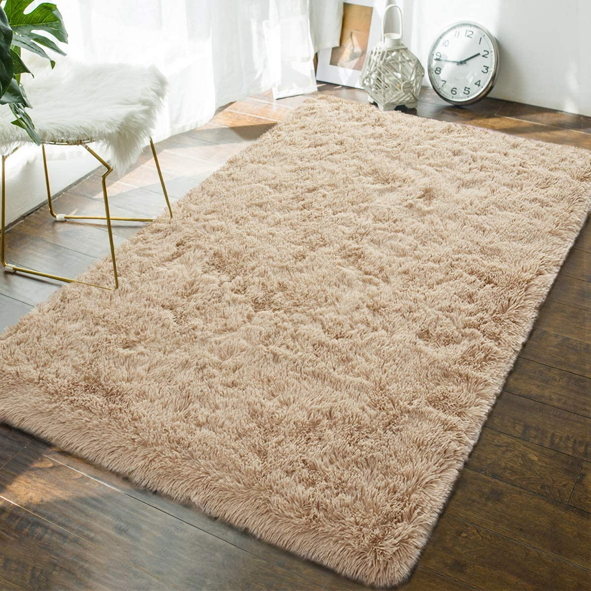 Andecor Soft Fluffy Bedroom Rugs - 4 x 6 Feet Indoor Shaggy Plush Area Rug for Boys Girls Kids Baby College Dorm Living Room Home Decor Floor Carpet, Camel