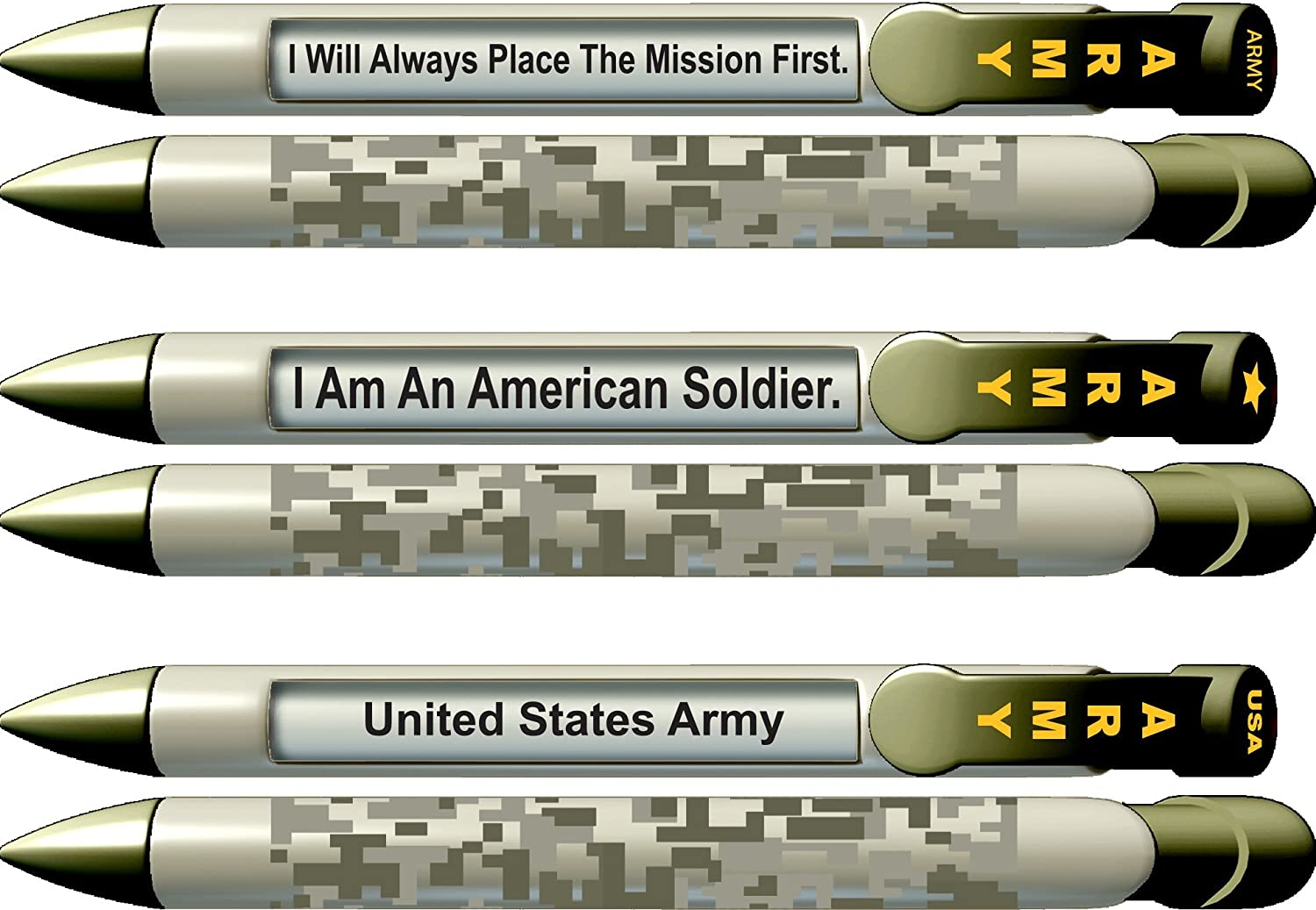 Greeting Pen Military Pen- Army Trio American Soldier United States Rotating Message 6 Pen Set 36566