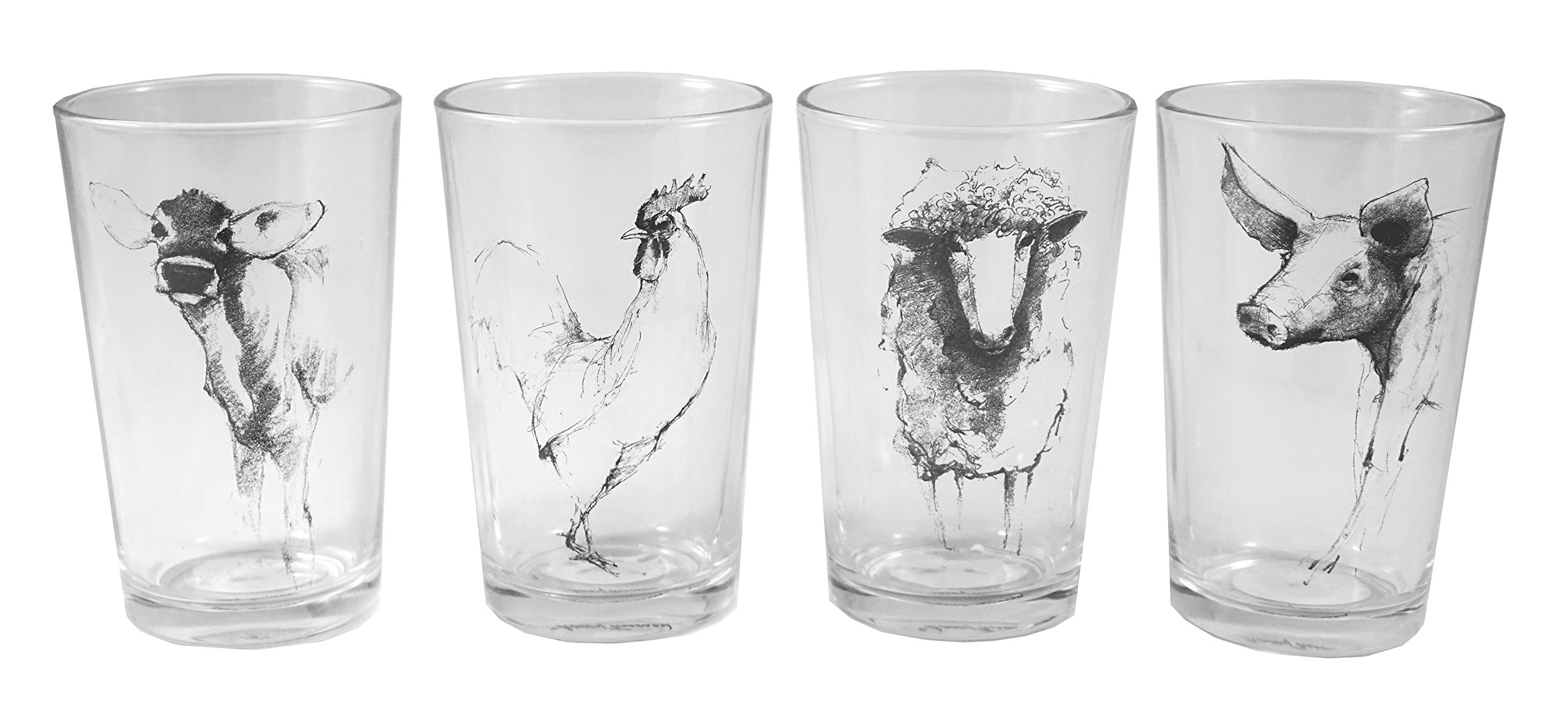 Creative Co-op 4-Inch H, Drinking Glass/Votive Holder with Farm Animal Decal, Set of 4