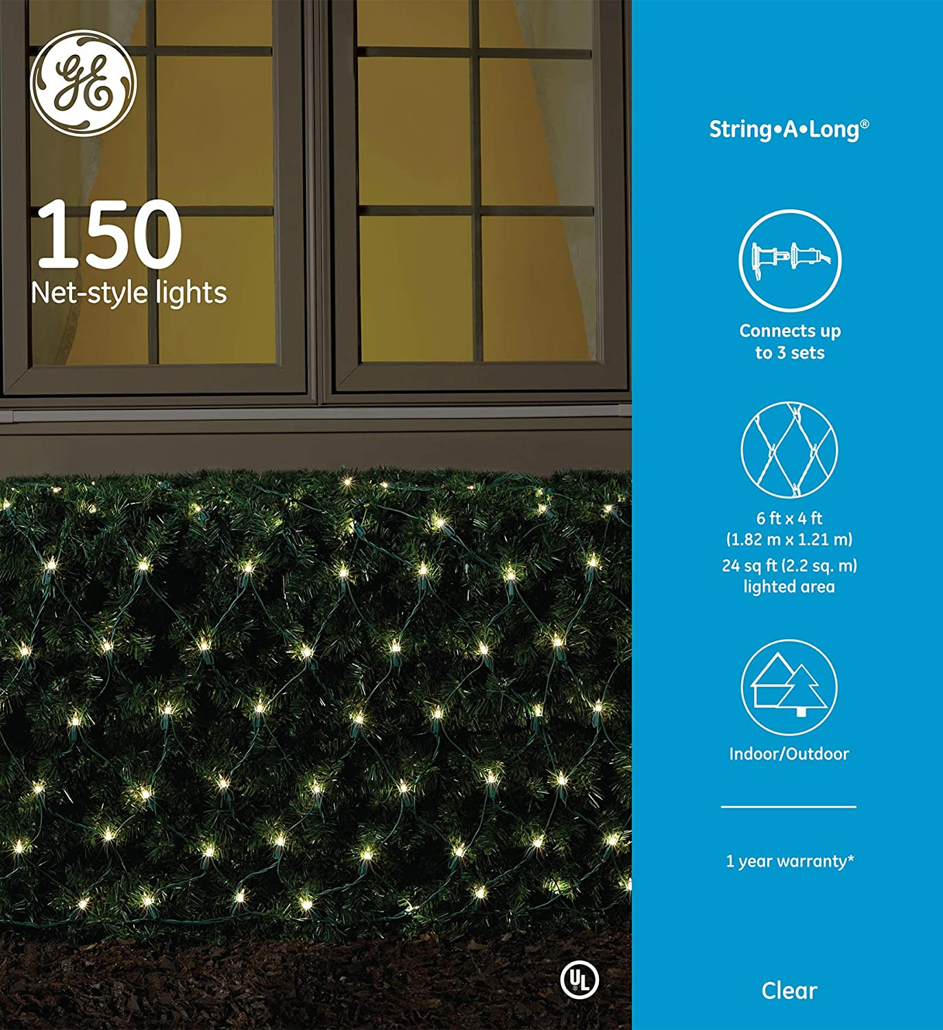 GE 150 Light Net-Style Holiday Light - Clear Lights, Green Wire - String-a-Long - Traditional lighting