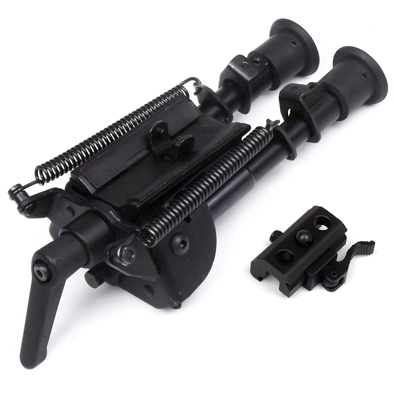 6-9 pulgadas Bípode de tipo pivotante disparo preciso Longitud extensible Patas plegables con resortes con Podlock +QD Bi-pod adaptador Freelight