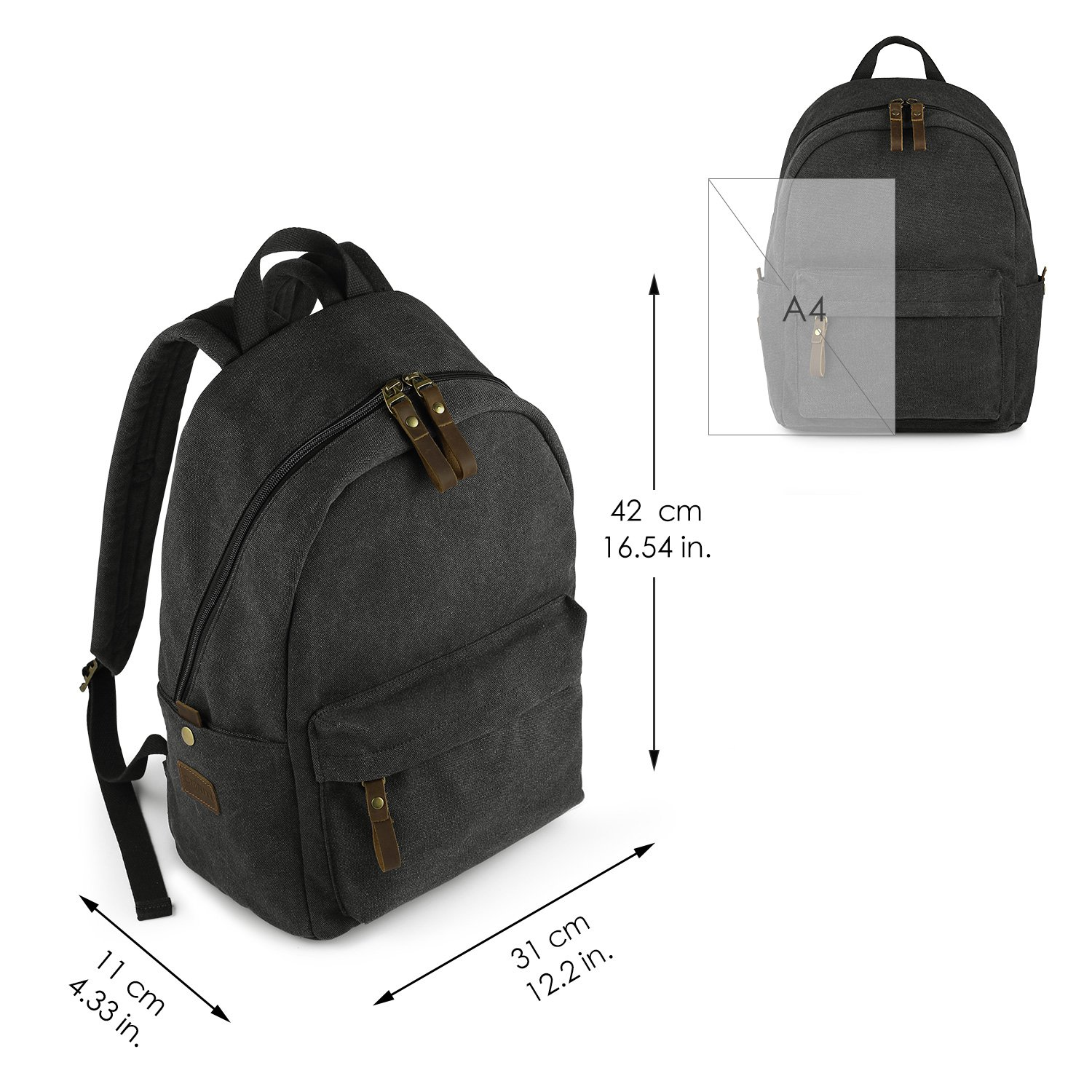 SMRITI Canvas 15.6 inch Laptop Backpack Casual Daypack for School Work and Travel - Dark Grey by SMRITI (Image #4)
