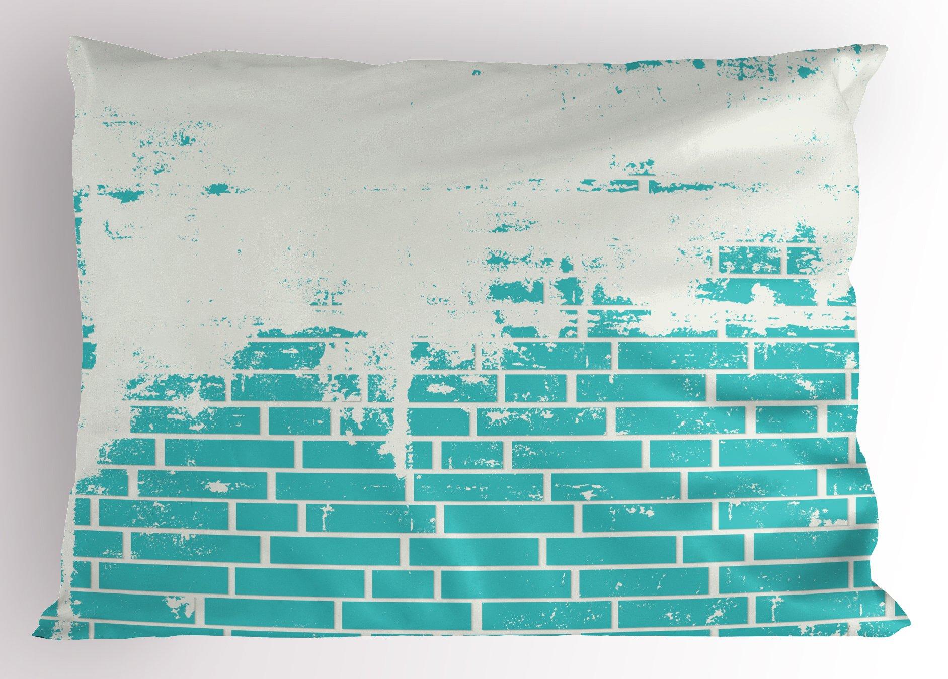 Lunarable Turquoise Pillow Sham, Plastered Brick Wall Aged Masonry Vintage Construction Stylized Modern Art Print, Decorative Standard Size Printed Pillowcase, 26 X 20 inches, Blue White