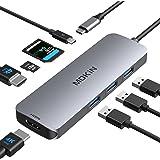 USB C to Dual HDMI Adapter, USB C Docking Station Dual HDMI Monitors USB C Adapter with Dual HDMI,3 USB Port,SD/TF,PD Port Co