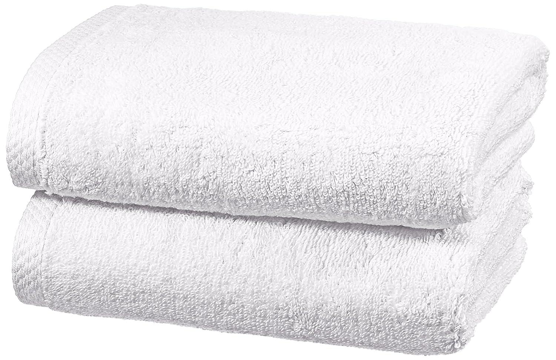AmazonBasics - Juego de 2 toallas de secado rápido, 2 toallas de mano - Blanco: Amazon.es: Hogar