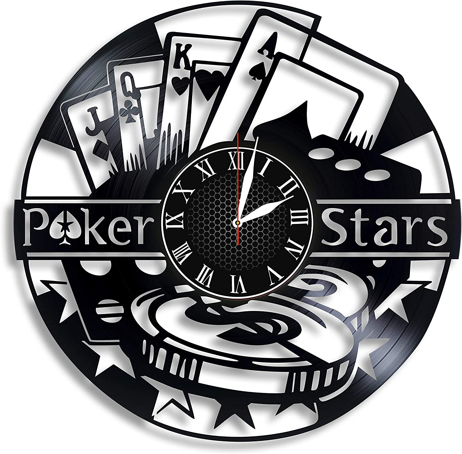 Poker Room Vinyl Wall Clock Poker Players Unique Gifts Living Room Home Decor