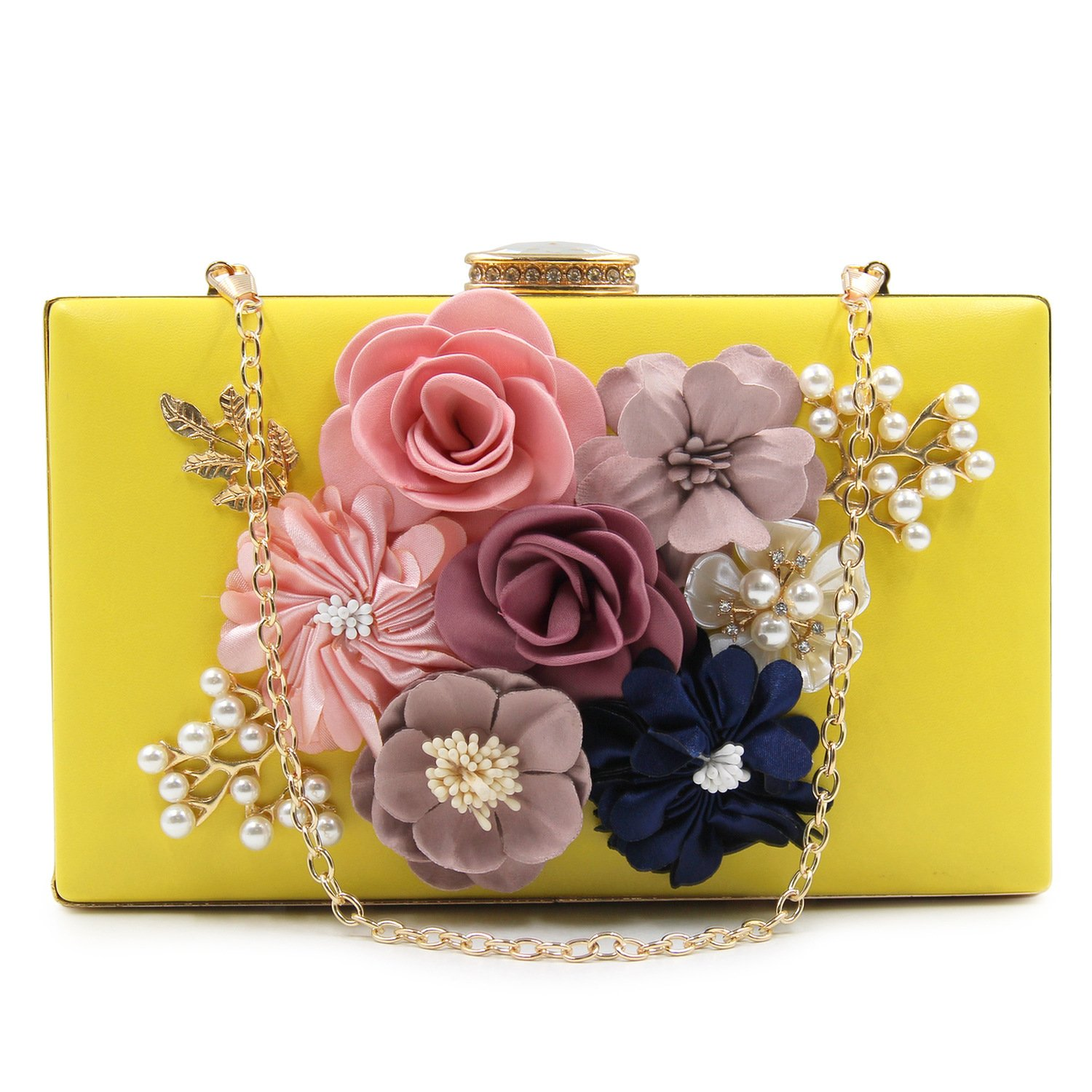 Women's Satin Flower Dinner Clutch Pearl Beaded Evening Hand Bag product image