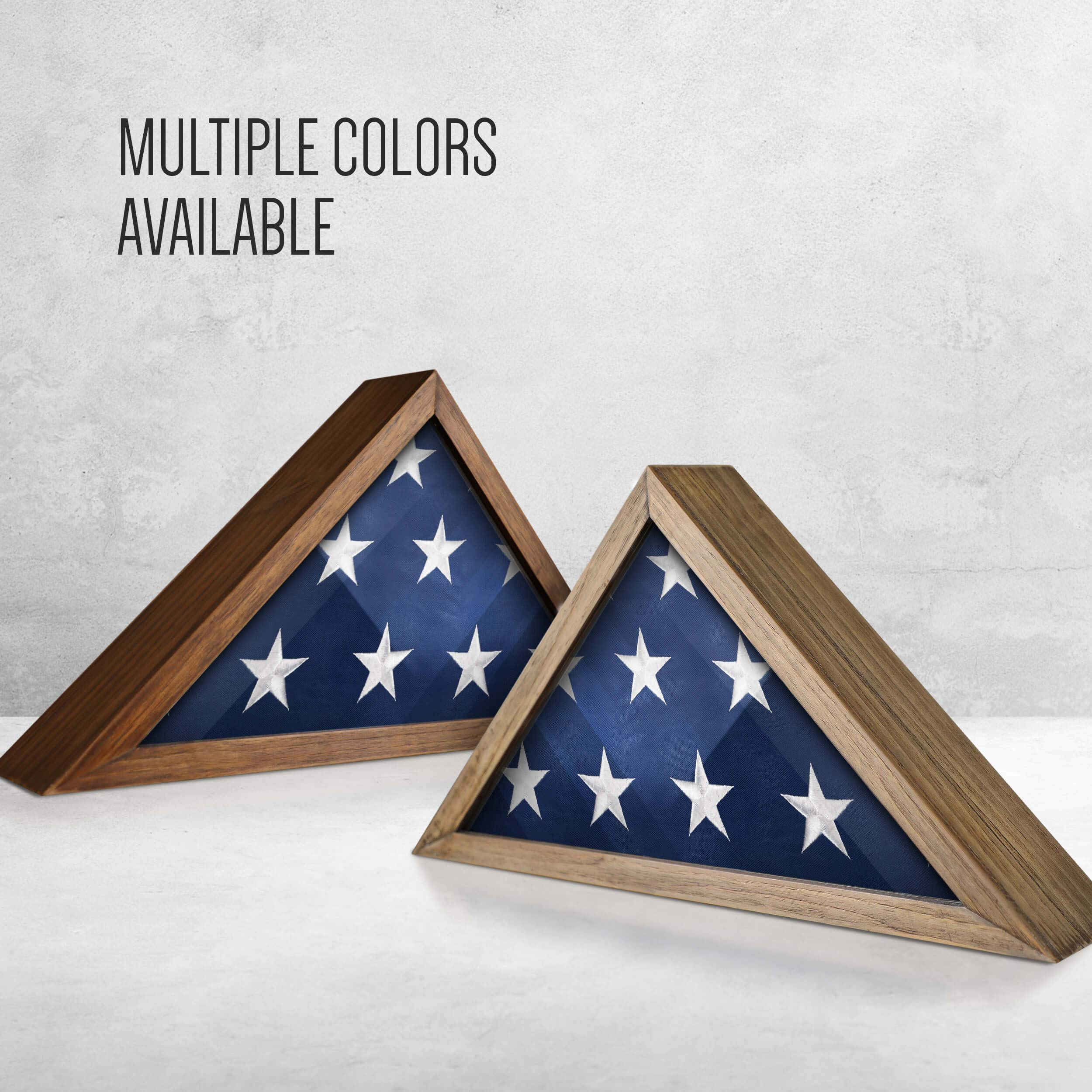 Rustic Flag Case - SOLID WOOD Military Flag Display Case for 9.5 x 5 American Veteran Burial Flag, Wall Mounted Burial Flag Frame, - Flag Shadow Box to display folded flag. (Weathered Wood) by HBCY Creations (Image #8)