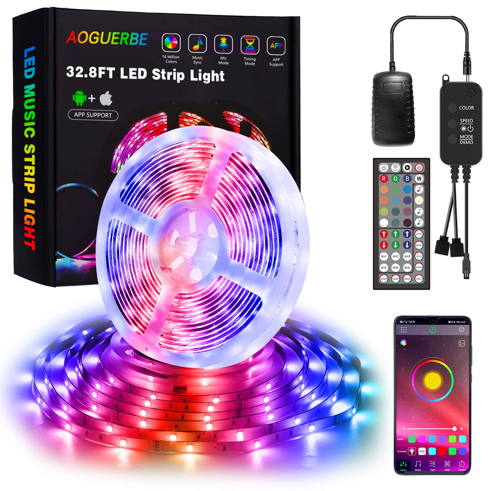 AOGUERBE LED Strip Lights 10m, Music Sync RGB Color Changing Lighting Strip, 5050 LED Light Strips Kit, App Control with 44 Keys Remote Control LED Lights for Bedroom, Party, TV, Kids Room, Kitchen