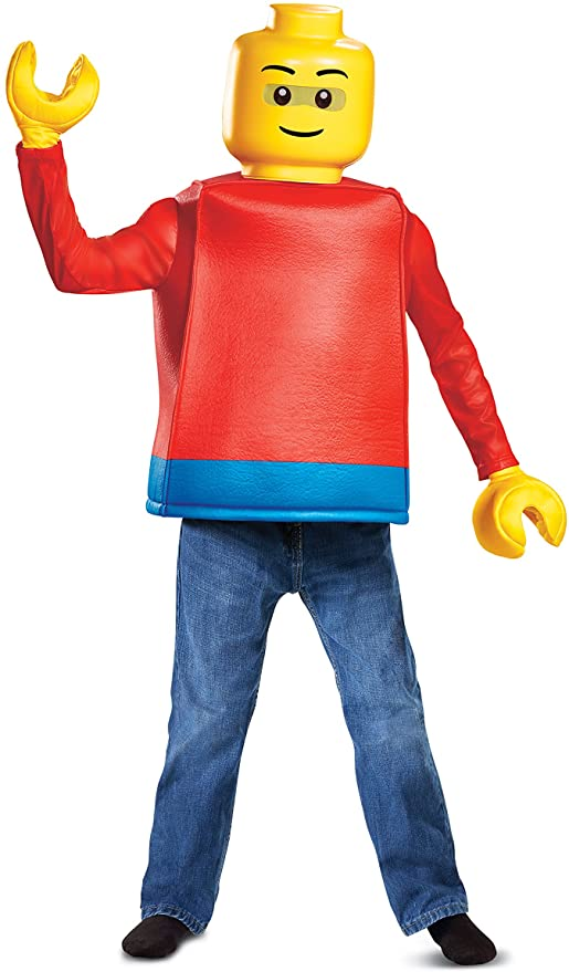 Disguise Lego Guy Classic Child Costume, Red, Large/(10-12)