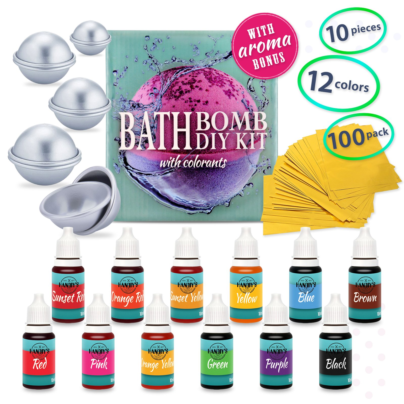 DIY Bath Bomb Kit - Bath Bomb Mold Kit with Dried Flowers for Bath Bomb Making - Bath Bomb Molds for Bath Bombs - Bath Bomb Making Kit with Soap Dye Colorants, Shrink Wrap Bags, Present Wrapping Paper by HANDIY'S