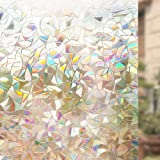 Rabbitgoo® 3D Non-Adhesive Static Decorative Privacy Glass Window Film Anti-UV 90CMx200 CM, Rainbow Colorful Pattern