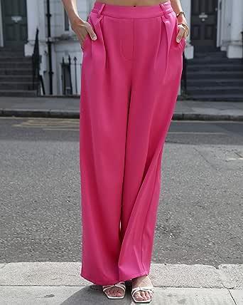 The Drop Pantalón suelto fucsia sedoso de talle alto y pernera ancha para mujer por @leoniehanne