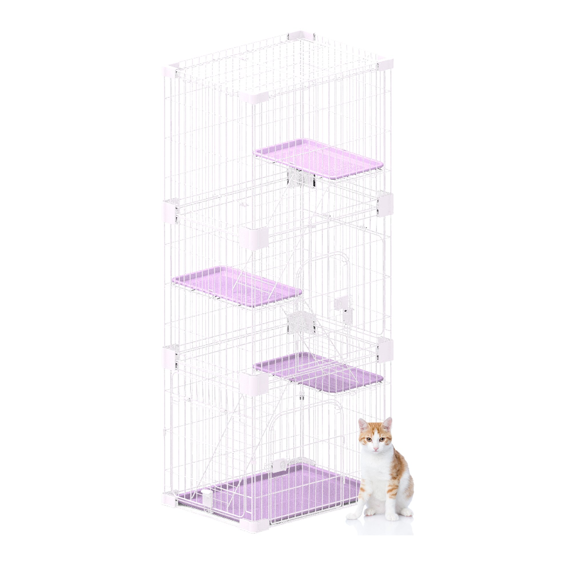 PetPals Wirehouse-Three Levels Pink Cat Cage, One Size