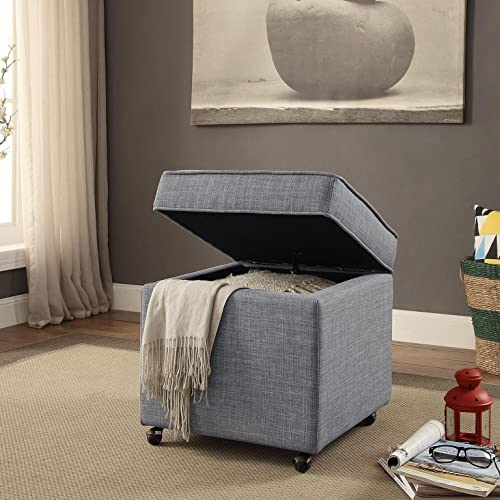 Inspired Home Harrison Linen Modern Contemporary Hidden Storage Castered Legs Ottoman Cube, Light Grey