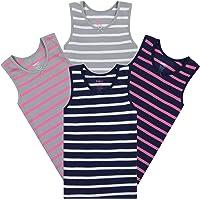 Buyless Fashion Camiseta de algodón sin Mangas con Estampado para Niñas (Pack 4)