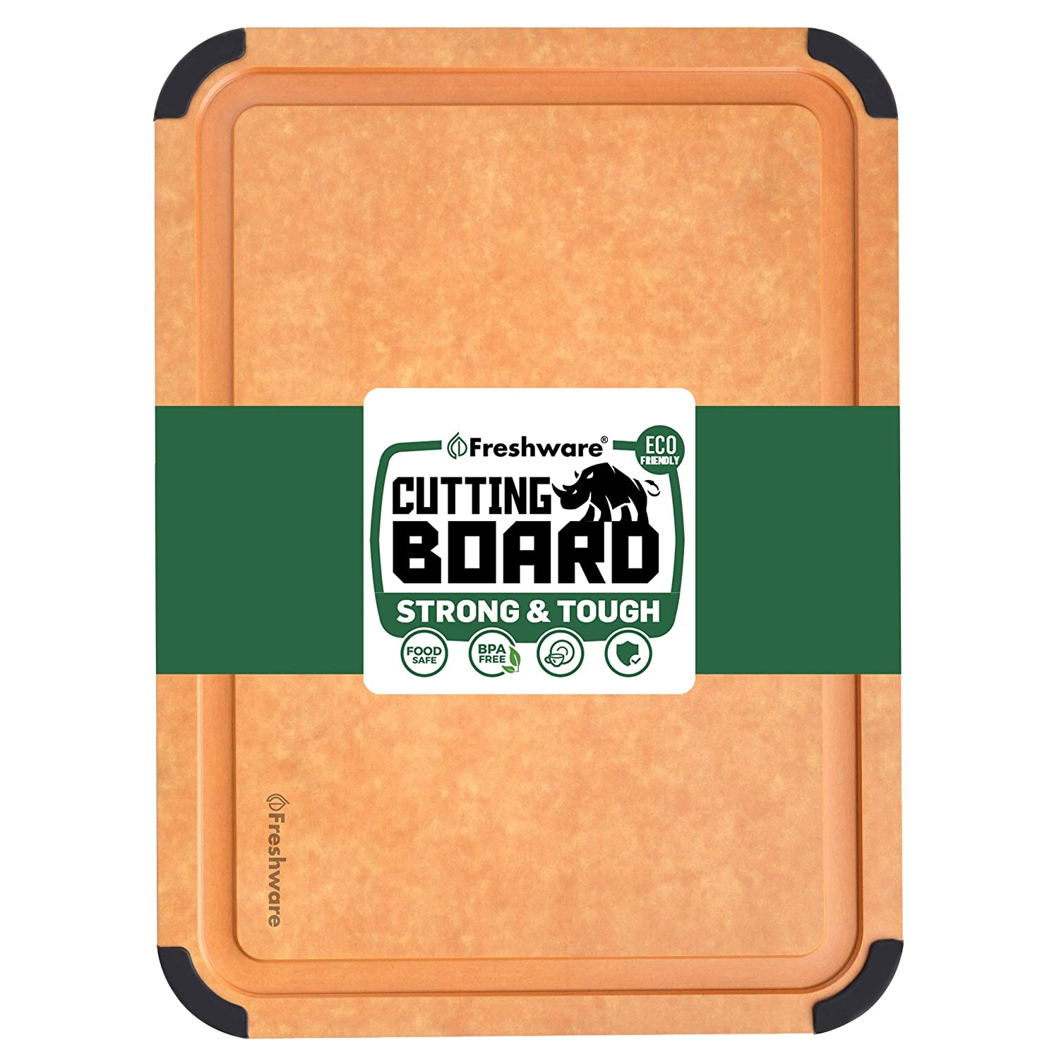 Cutting Board for Kitchen Dishwasher Safe, Wood Fiber Cutting Board, Eco-Friendly, Non-Slip, Juice Grooves, Non-Porous, BPA Free, Large Cutting Board, 17.3 x 13-inch, Natural Slate