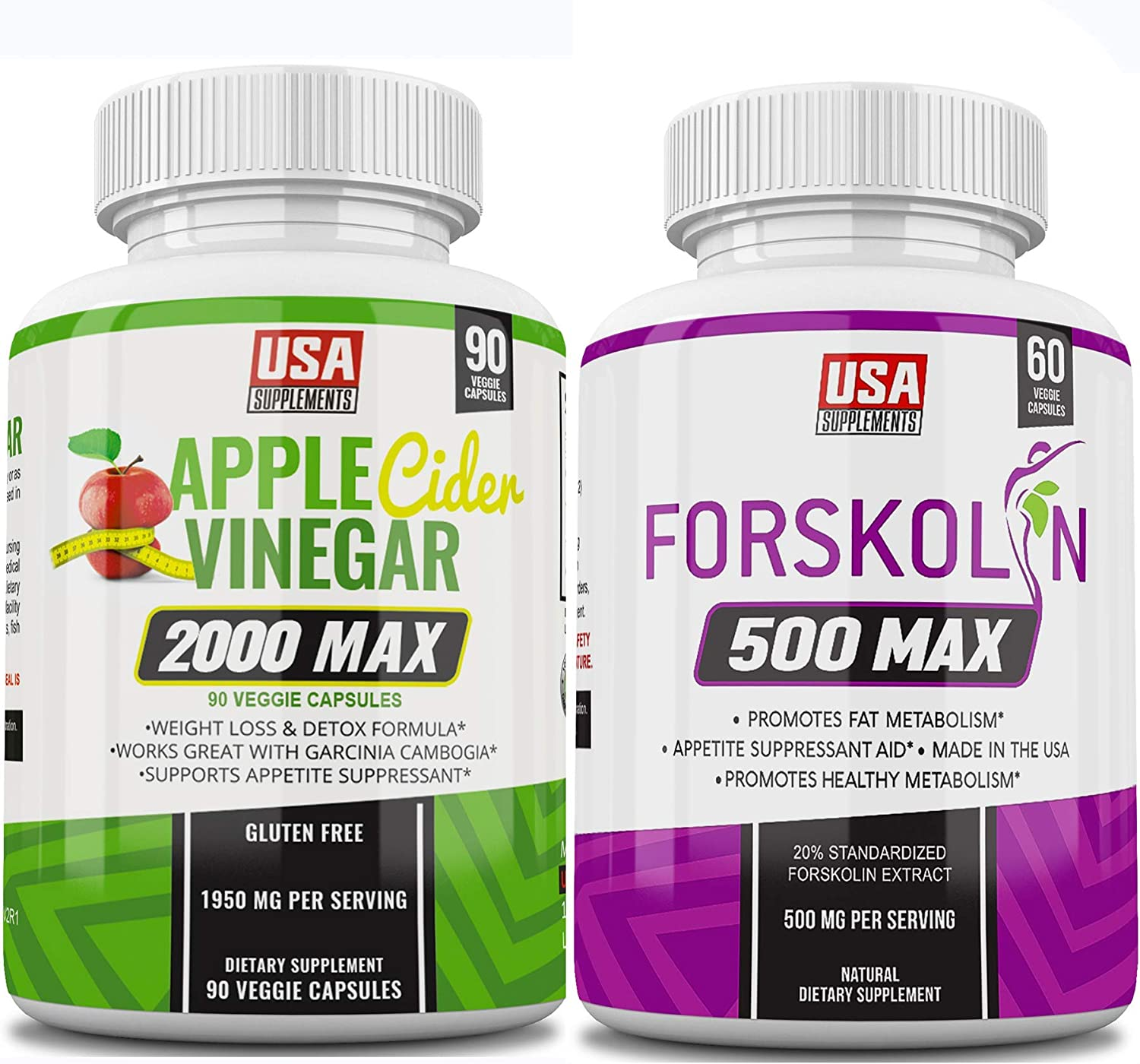 Apple Cider Vinegar Pills & Forskolin 500 Max (One Bottle of Each)