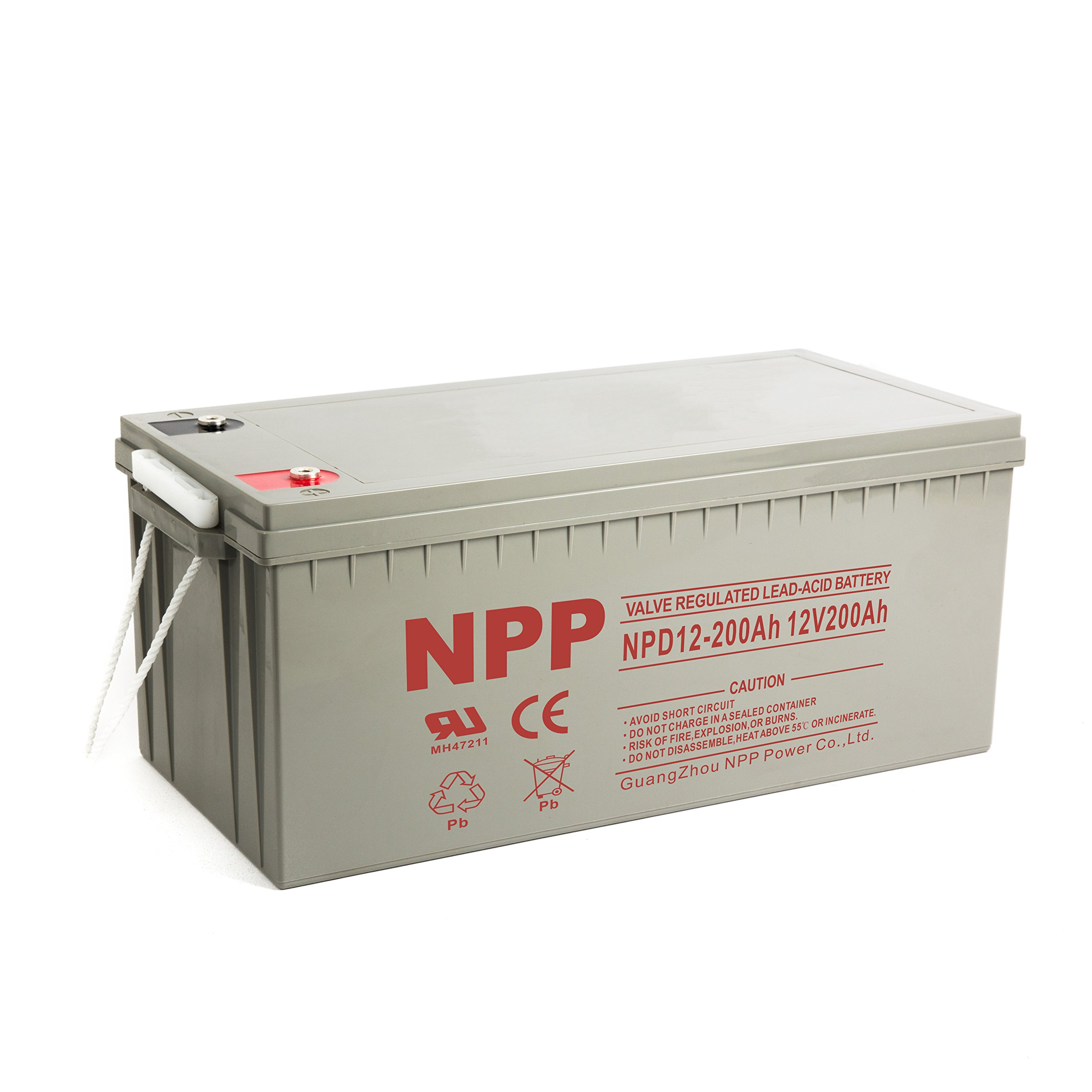 NPP NPD12-200Ah Rechargeable Deep Cycle 4D SLA 12V 200Ah Battery with Button Style Terminals by NPP