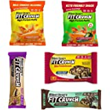 FITCRUNCH Sample Box, Sample Protein Snack Box, Products designed by Chef Robert Irvine, Snack Size Protein Bar, Protein Brownie, Protein Puffs & Full Size Protein Bar, High Protein, Low Carb (5 Pack)