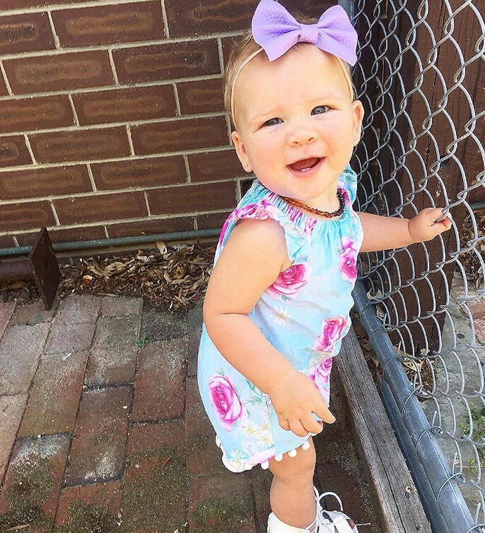 Samgami Baby Baby Girls Summer Sleeveless Cotton Tassel Triangle Rose Romper Kids Headband