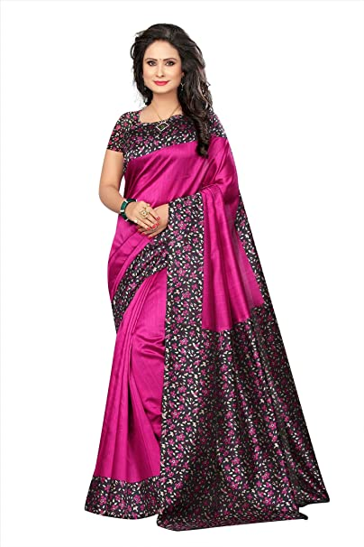 e0a44efcb ishin Women s Poly Silk Blended Mysore Silk Kalamkari Printed Saree  (Purple