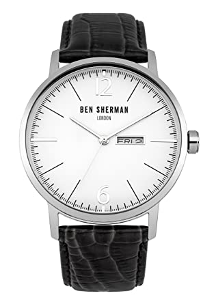 Ben Sherman WB046B Mens Big Portobello Professional Black Leather Strap  Watch e45097a2cd1