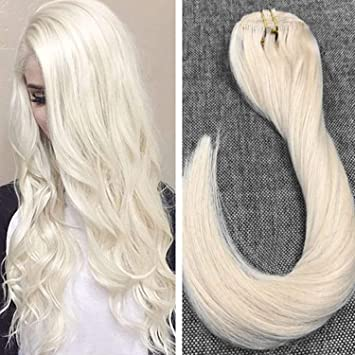 Amazon Com Ugeat Dream 20 Clip In Real Hair Extensions Platinum