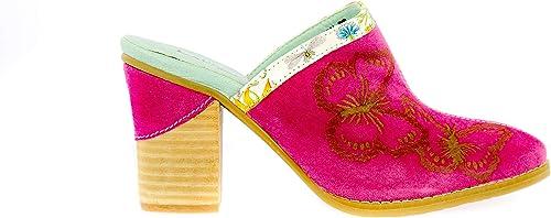 LAURA VITA Bride Cheville avec Semelle Confortable DACLTONO 019 Rose Sabot Cuir Femmes Style Original Fleurs Chaussures de Ville /Ét/é